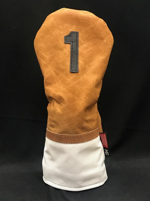 0ddfabf8442 Distressed Tan Cowhide White Classic Style Leather Golf Headcover ...